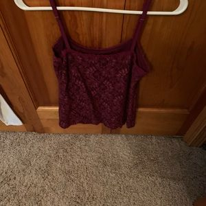 White House Black Market Tops - White House Black Market Burgundy Lace Cami